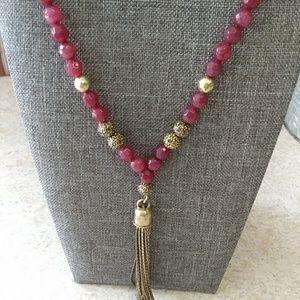 "Lucky Brand gemstone tassel necklace 36"""